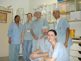 David Sloman (pictured centre) spends time in theatres