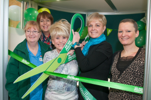 Lucy (far right) at our Macmillan 'pod' opening